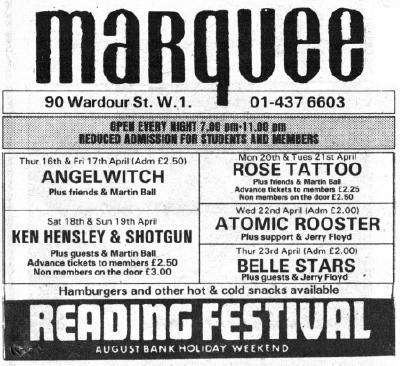 Marquee Ad Ken Hensley and Shotgun